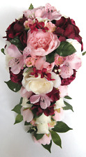 Wedding Bouquet 17 pc package Bridal Silk Flowers BURGUNDY Light PINK MAUVE Wine