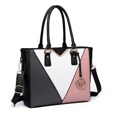 Women Structure PU Leather V-Shape Shoulder Tote Handbag  Bag Satchel