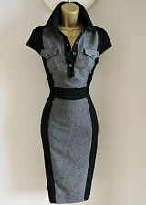 KAREN MILLEN GREY AND BLACK TAILORED DAY OFFICE BUSINESS PENCIL DRESS SIZE 10/12