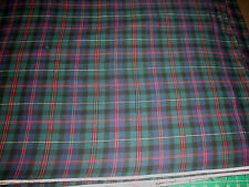 1 Yard Green-Blue Plaid flannel cotton fabric, 44/45 wide