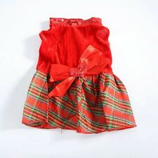 DOG DRESS RED CHECK PUPPY TEACUP TINY small 22CM CHIHUAHUA YORKIE CLOTHES XS