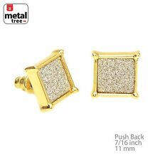 Men's 14k Gold Plated Flat Block Square Glitter Stud Earring SC 207 G