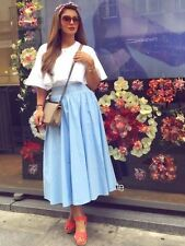 Zara Sky Blue Long Midi Poplin Skirt Flared Flowing Size Small