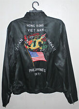 VINTAGE 70's 1971 DRAGON EMBROIDERY SOUVENIR TOUR JACKET VIETNAM JAPAN WAR