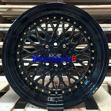 XXR 536 Black Gold Rivets 15 x 8 +0 Deep Step Lip Wheels Rims 4x114.3 Hellaflush