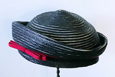 Vintage Navy Blue straw ladies hat with red ribbon Miss Bette Field Schlick