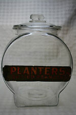 Original Planters Peanut Fishbowl Glass Counter Peanut Jar with Label, 1929