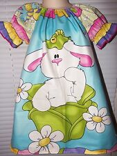 Easter Bunny  Dress Fabric  Size 3t/4t Ready to ship 21 in Length