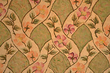 Antique HAND MADE HOOKED  Lattice & Vine  Rug-  Green. Cream, Pink    Rectangle