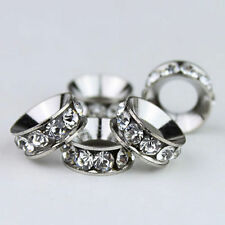 10PCS Clear Czech Crystal Platinum Round Rondelle Spacer European Charm Beads