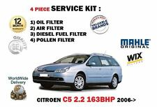 FOR CITROEN C5 2.2 HDi 163BHP 2006-  OIL AIR FUEL POLLEN 4 FILTER SERVICE KIT