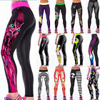 New Womens YOGA Workout Gym Print Sports Pants Leggings Fitness Stretch Trouser
