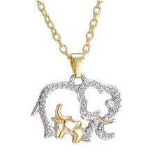Mother's Day Gold & Silver Elephants Mom Baby Animal Crystal Charms Necklace