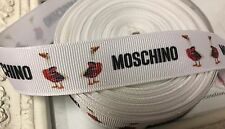 1 Metre Moschino Duck Print Grosgrain Ribbon Designer 22mm Cakes Bow Dummy