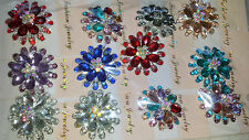 Joblot of 12 Flower Design Diamante Crystal Broaches - NEW Wholesale lot 1