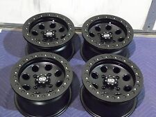 "12"" KAW. BRUTE FORCE 750 BEADLOCK BLACK ATV WHEELS NEW SET 4 -LIFETIME WARRANTY"