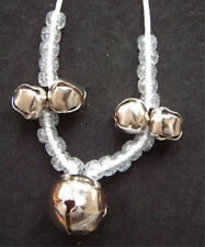 Funky JINGLE BELL PENDANT NECKLACE Mardi Gras Holiday Elf Costume Jewelry-SILVER