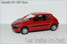 Peugeot 206 5 portes Couleur Rouge Aden éch HO 1/87 éme BREKINA SAI 2153