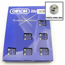 Caflon Ear Studs APRIL Birthstone REGULAR Round WHITE STAINLESS Pack 12 pairs