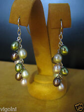 PEARL EARRINGS MULTI COLOR GREEN BROWN SILVER 5 6 MM RAINFOREST GIFT HONORA