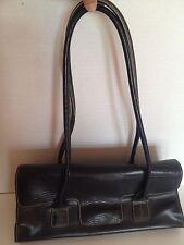 """Tommy Hilfiger Small  Black Leather Shoulder Handbag Purse 13"""" Strap Drop"""