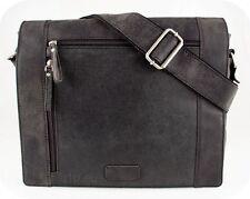 MESSENGER BAG A4 LEDER NEU Hunter schwarz Umhängetasche Schultersche Tasche UNI