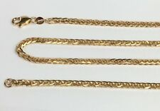 18k Solid Gold Unisex Italian Wheat Chain/Necklace Dimond Cut 20 Inches.11.50 Gr
