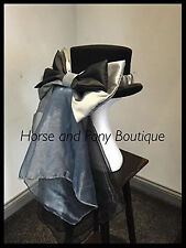 Concours d'elegance silver hat bow and drape, equestrian hat