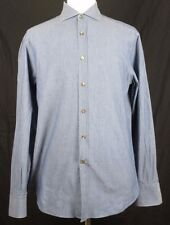 Brunello Cucinelli Men's Medium Shirt Basic Fit Blue Checks Made in Italy