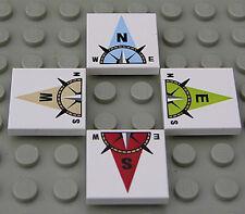 LEGO - 4 bedruckte Fliesen 2x2 mit Kompass und Nord, Ost, Süd, West NEUWARE