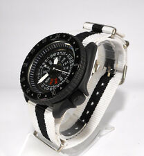 """NO DIAL"" 7S26 SCUBA DIVERS WATCH GMT BLACK CERAKOTE SKX SEIKO WHITE AUTOMATIC"