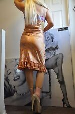"PARTY STRETCH PALE GOLDEN APRICOT MIDI ""VDP"" DRESS, SEQUINS & BEADED 12 EU 42"
