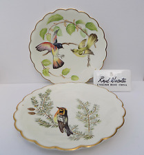 ROYAL WORCESTER  PAIR OF DESSERT PLATES HAND PAINTED DOROTHY DOUGHTY BIRDS