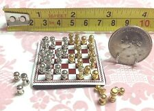 """Dollhouse Miniature Play/Game/Toy Silver & Gold Chess w/ Board 1.5"""" Scale 1:12"""