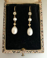 A Wonderful Pair Of Old Mine Cut Diamond & Pearl Earrings Circa 1800's