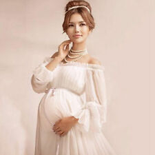 Women Maternity Dress White Chiffon Gown Vintage Photography Prop Clothing New