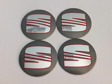 4x Seat Wheel Center Cap Badge 56mm Grey Ibiza Leon Cupra Alhambra Toledo Altea