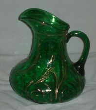 Vintage EAPG Dugan Glass Waving Quill Emerald Green With Gold Trim Glass Pitcher