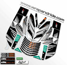 KTM rokbagoros inspired Graphics Kit [White & Orange Combo] Duke 200 / 390...