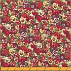"MAKOWER UK SUMMER GARDEN COTTON LITTLE PANSY FLORAL FABRIC FQ 18"" X22"" #R"
