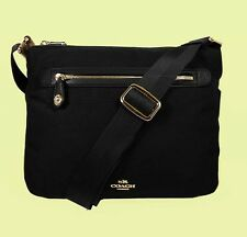 COACH 35502 Top Zip Black  Nylon/Leather X-body Bag Msrp $225.00