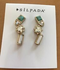 Silpada Trio Of Earrings Set Of 3 Button Post Studs Crystals Turquoise NEW!!