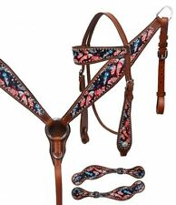 Showman Feather Print Headstall & Breast Collar Set with Matching Spur Straps!