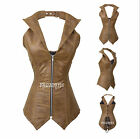 Brown Real Leather,Real Steel Bones,LaceUp Back Fullbust Corset/Lingerie,2XS~7XL