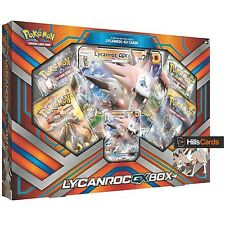 Pokemon lycanroc gx collection boîte: booster packs + promo cards-sun & moon
