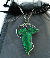 Elven Leaf Brooch Necklace Green Hobbit LOTR Lord of The Rings Lorien Enamel