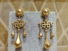 Antique Art Deco 14k yellow gold geometric drop pendant earrings screwback