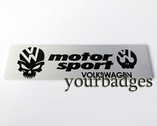 New Brushed Aluminium VW Volkswagen Motor Sport Skull Car badge Golf