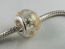 BEAUTIFUL SILVER CORE MURANO GLASS BEAD FOR EURO STYLE CHARM BRACELETS (MSB 107)