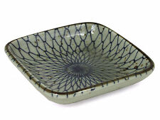 """4 PCS. Japanese 3.5"""" Sushi Soy Sauce Dipping Dish Plates Blue Net, Made in Japan"""